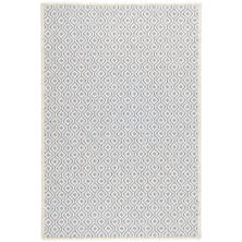 Bayberry Ivory/Denim Woven Wool Custom Rug With Attached Rug Pad