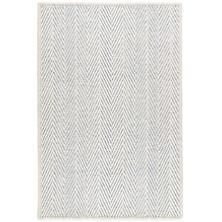 Cora Ivory/Cobalt Woven Wool Custom Rug With Attached Rug Pad