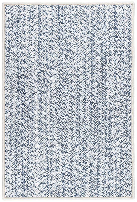 Lucy Navy Woven Custom Rug With Attached Rug Pad