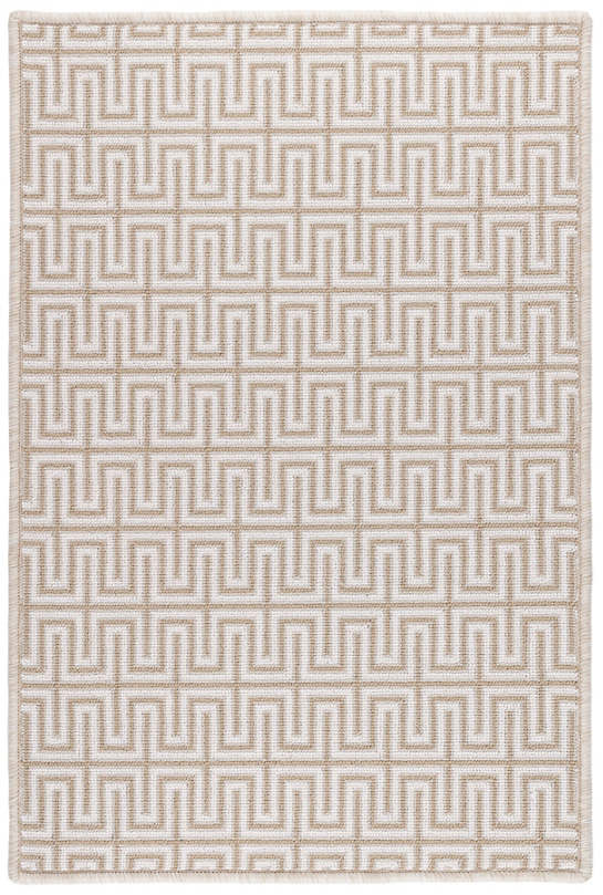 Maze Beige Woven Wool Custom Rug With Attached Rug Pad