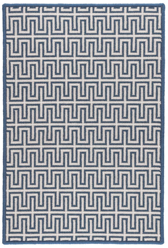Maze Navy Woven Wool Custom Rug With Attached Rug Pad