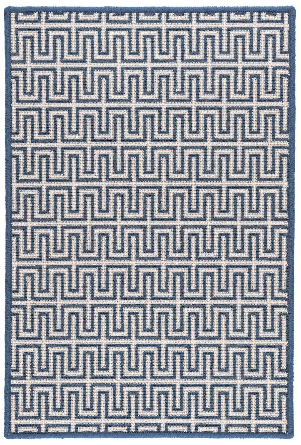 Maze Navy Woven Wool Custom Rug