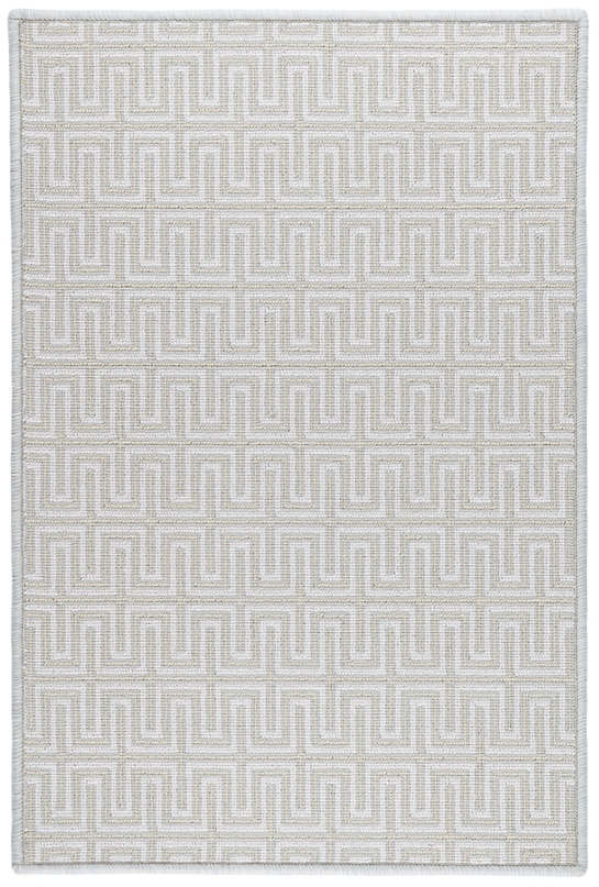 Maze Platinum Woven Wool Custom Rug With Attached Rug Pad