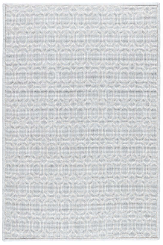 Optic Pale Blue Woven Wool Custom Rug With Attached Rug Pad