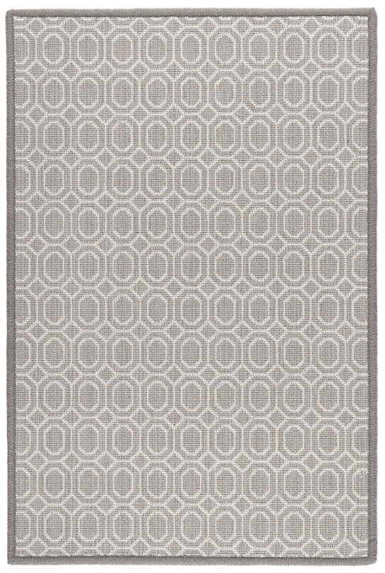 Optic Pearl Grey Woven Wool Custom Rug With Attached Rug Pad