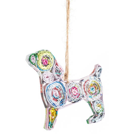 Recycled Newspaper Dog Ornament