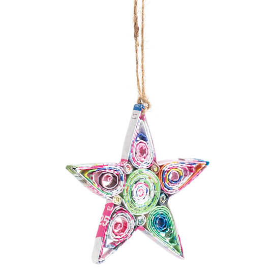 Recycled Newspaper Star Ornament