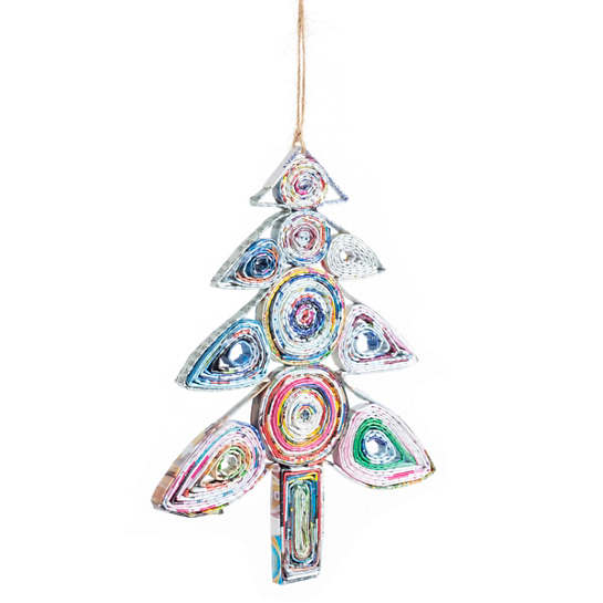 Recycled Newspaper Tree Ornament