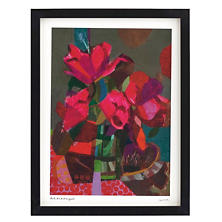Red Pink Bouquet Wall Art