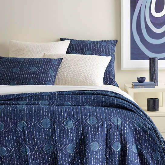 Resist Dot Indigo Coverlet Pine Cone Hill