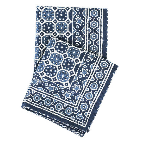Resist Octagon Indigo Throw