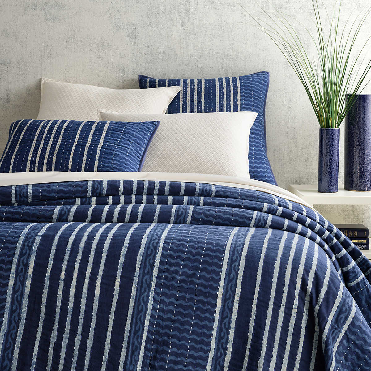 Resist Stripe Indigo Coverlet Pine Cone Hill