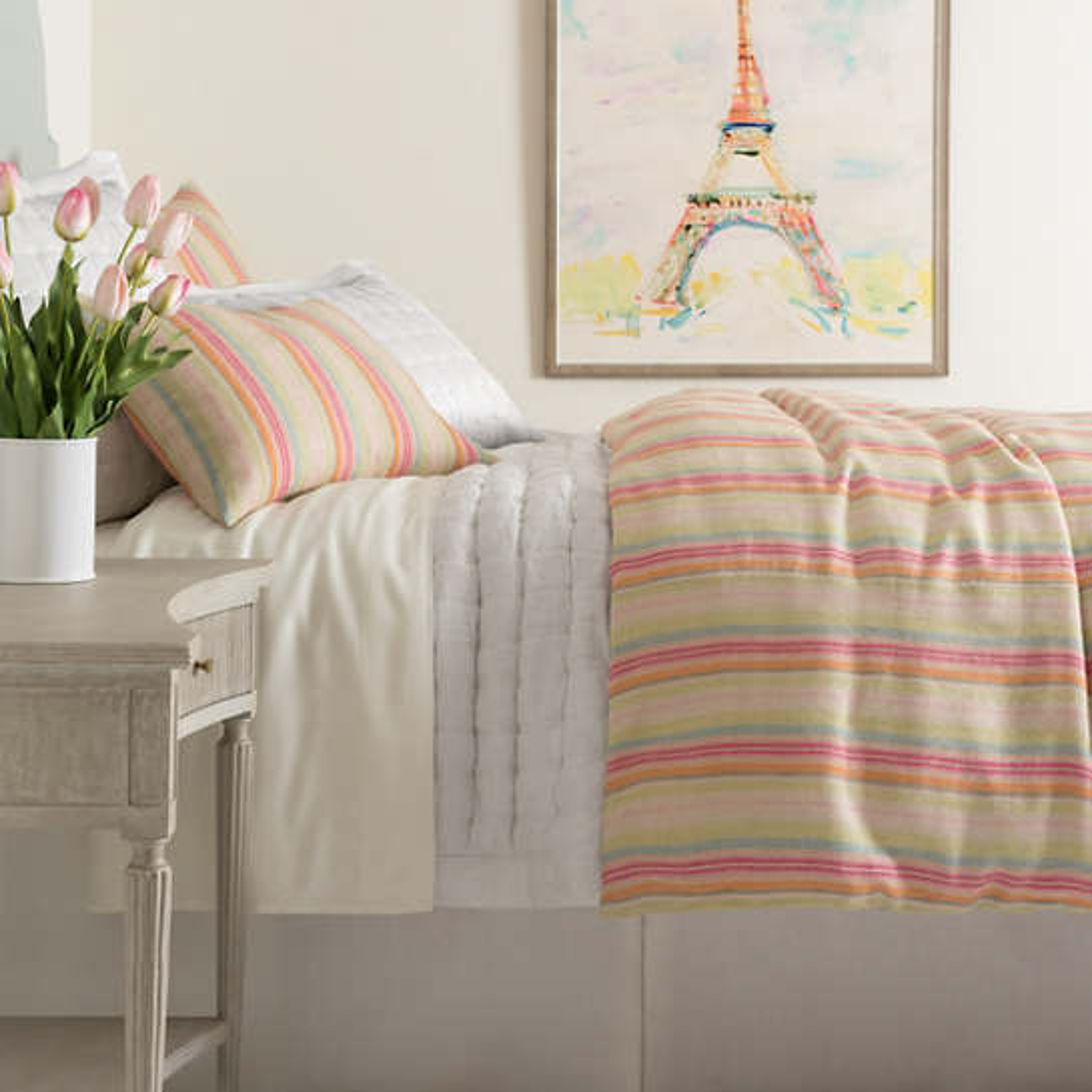 Riviera Stripe Linen Duvet Cover