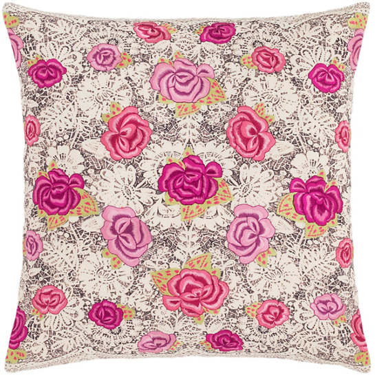 Roses Embroidered Decorative Pillow The Outlet