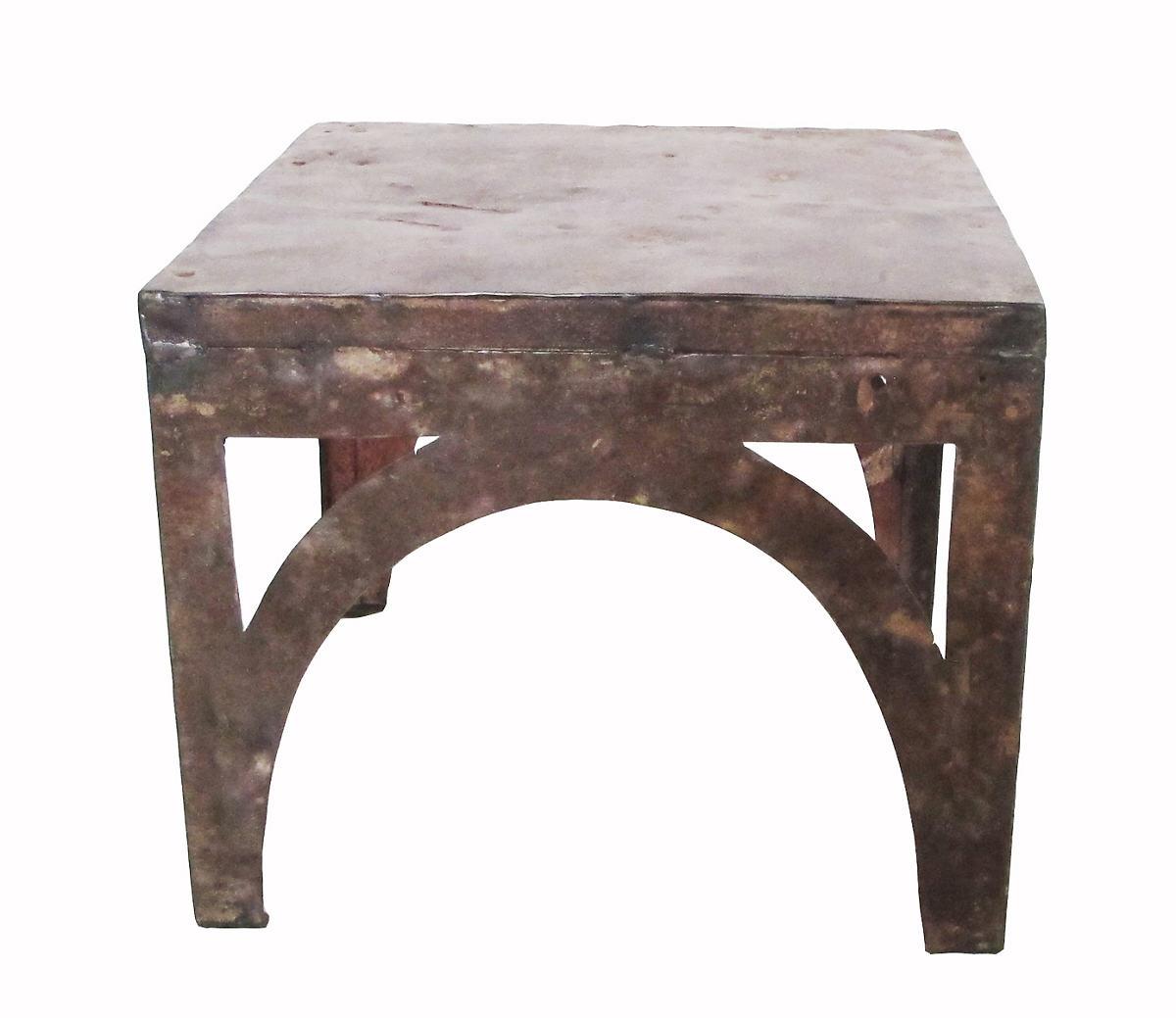 Rustic Reclaimed Metal Side Table