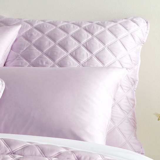 Quilted Silken Solid Pale Lilac Sham