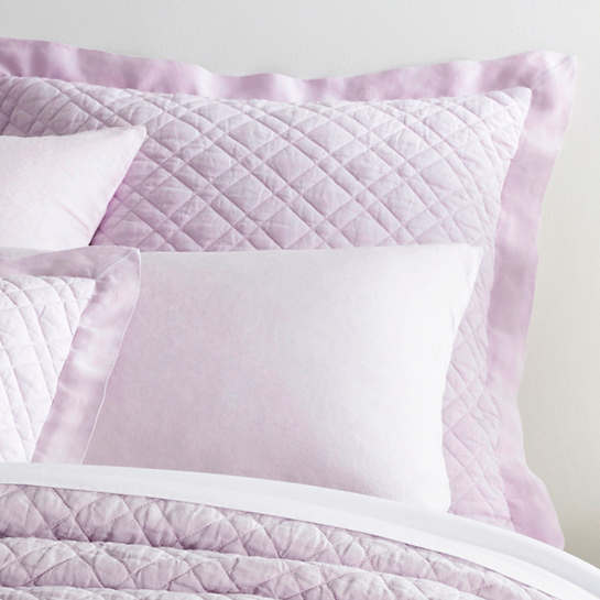 Washed Linen Pale Lilac Quilted Sham