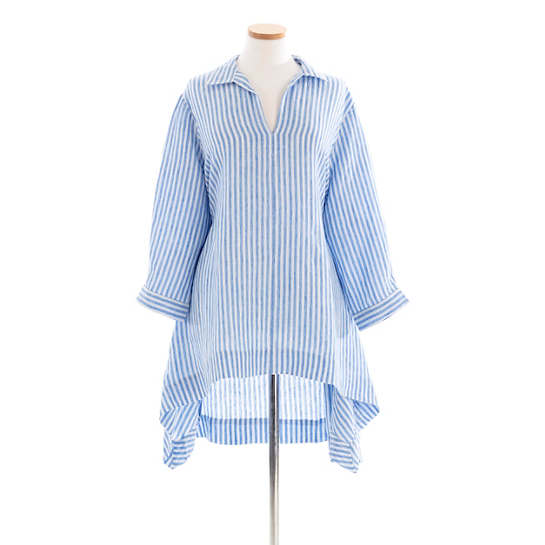 Annie Linen Blue Stripe Tunic