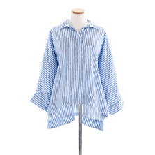 Ellie Linen Blue Stripe Smock