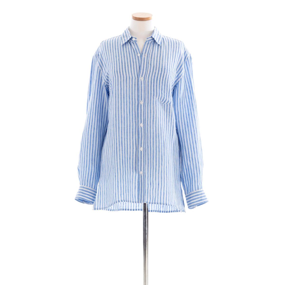 Reese Linen Blue Stripe Shirt