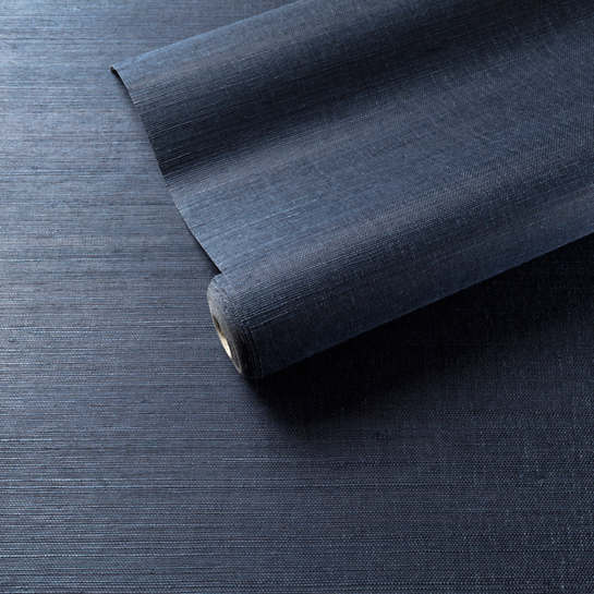 Samoa Indigo Grasscloth Wallpaper