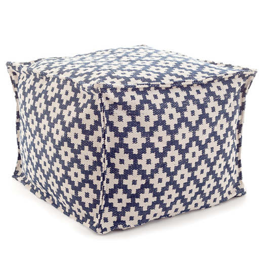 Samode Navy/Ivory Indoor/Outdoor Pouf