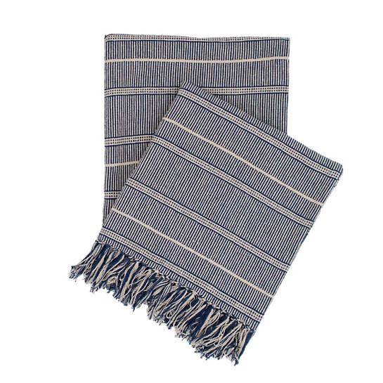 Samson Navy Woven Cotton Throw