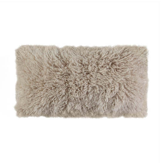 Longwool Curly Sheepskin Sand Decorative Pillow