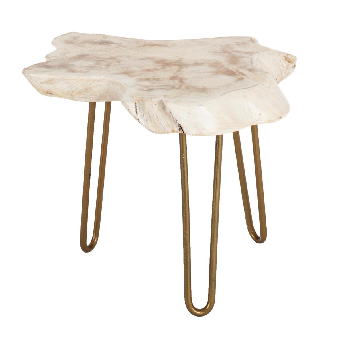 Satellite Whitewash Side Table
