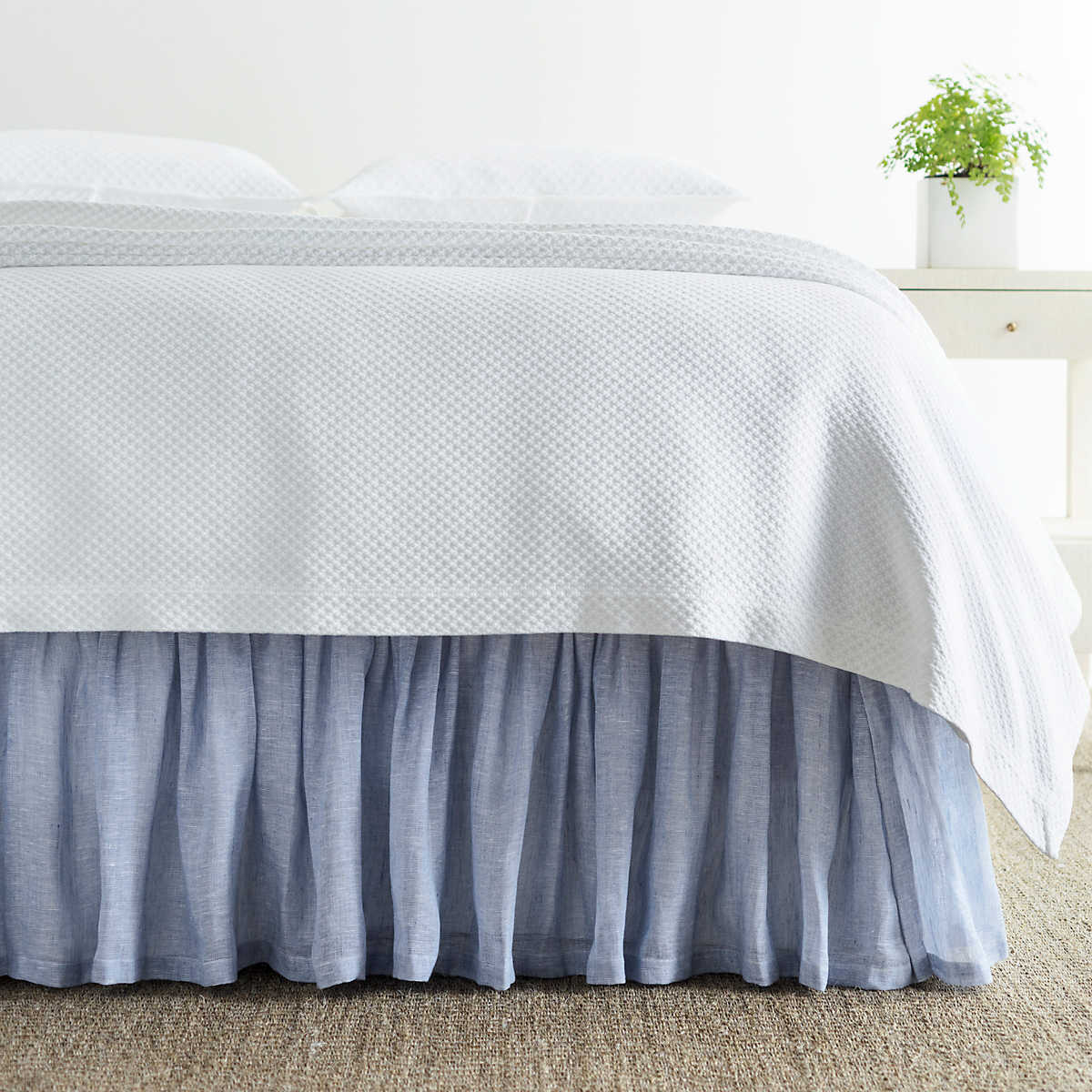 Savannah linen chambray french blue bed skirt pine cone hill for Chambray 7 s