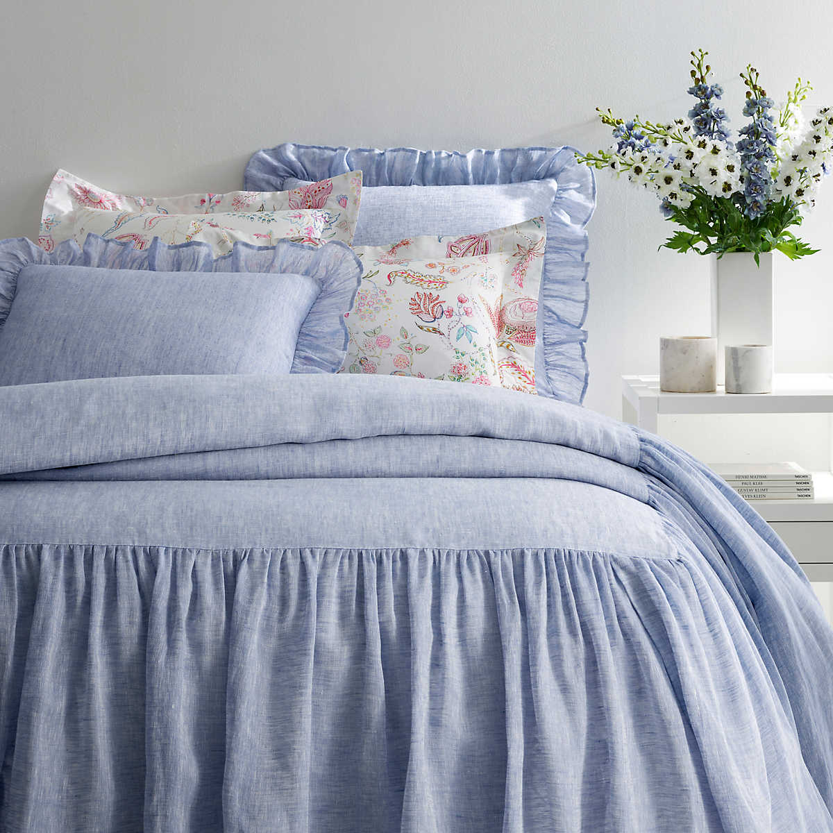 Savannah Linen Chambray French Blue Bedspread The Outlet