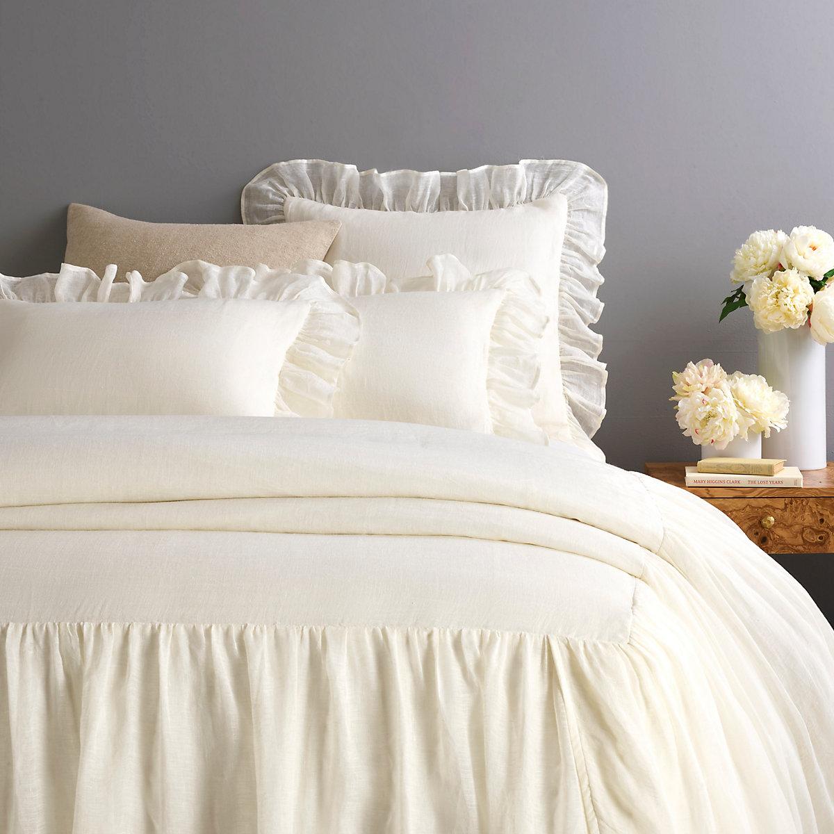 Savannah Linen Gauze Ivory Bedspread Pine Cone Hill