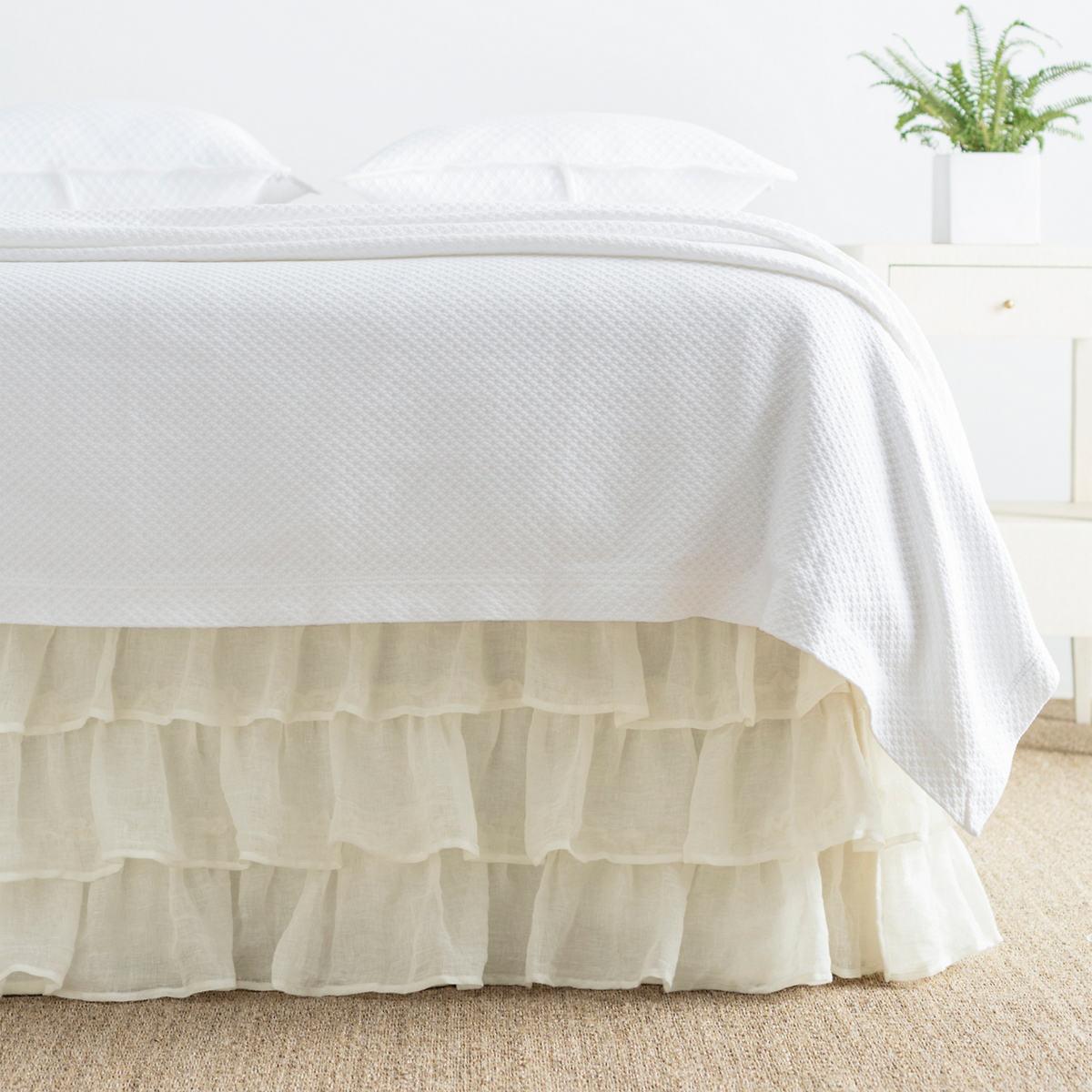 Savannah Linen Gauze Ivory Tier Ruffle Bed Skirt