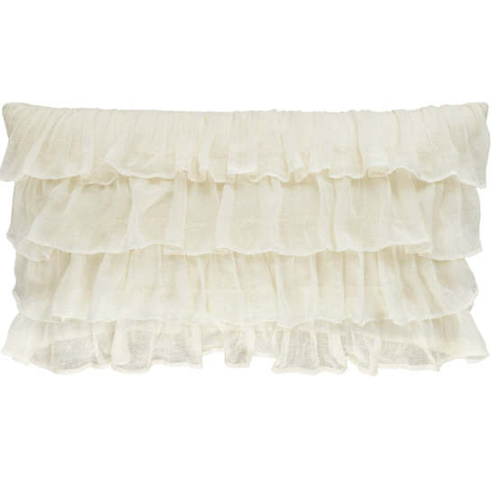 Savannah Linen Gauze Ivory Tier Ruffle Decorative Pillow