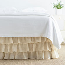 Savannah Linen Gauze Tea Stain Tier Ruffle Bed Skirt