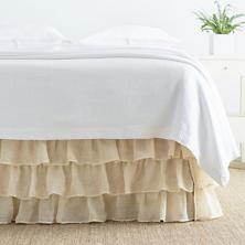 Savannah Linen Gauze Tea Stain Tier Ruffle Bed Skirt