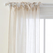 Savannah Linen Gauze Tea Stain Tie Top Window Panel