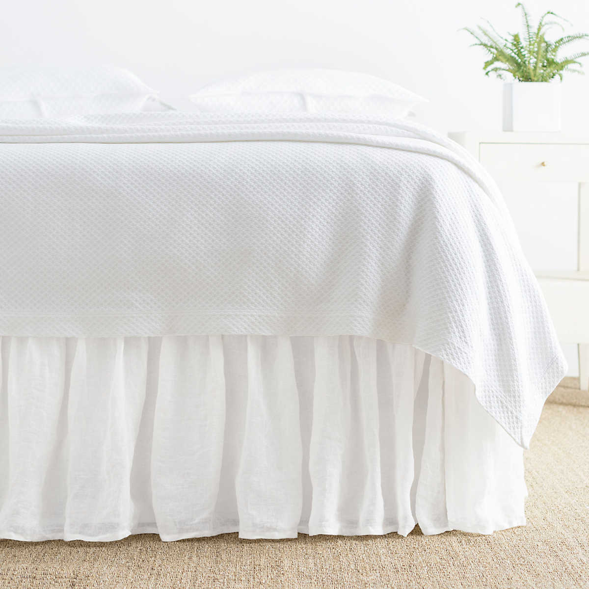 Savannah Linen Gauze White Bed Skirt Pine Cone Hill