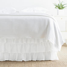 Savannah Linen Gauze White Tier Ruffle Bed Skirt