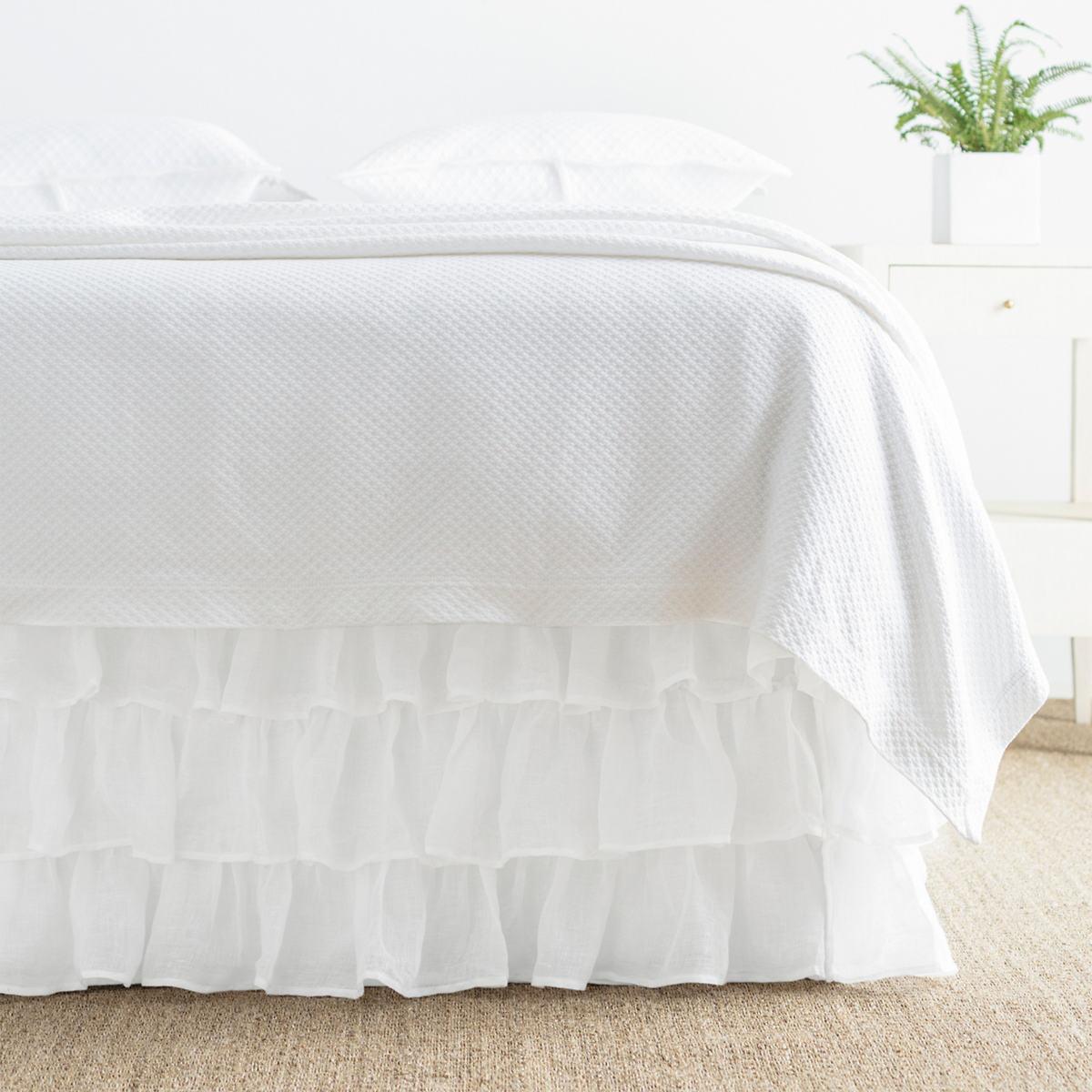 Savannah Linen Gauze White Tier Ruffle Bed Skirt