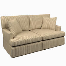 Adams Ticking Brown Saybrook 2 Seater Slipcovered Sofa