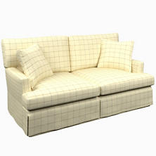 Chatham Tattersall Light Blue/Natural Saybrook 2 Seater Slipcovered Sofa