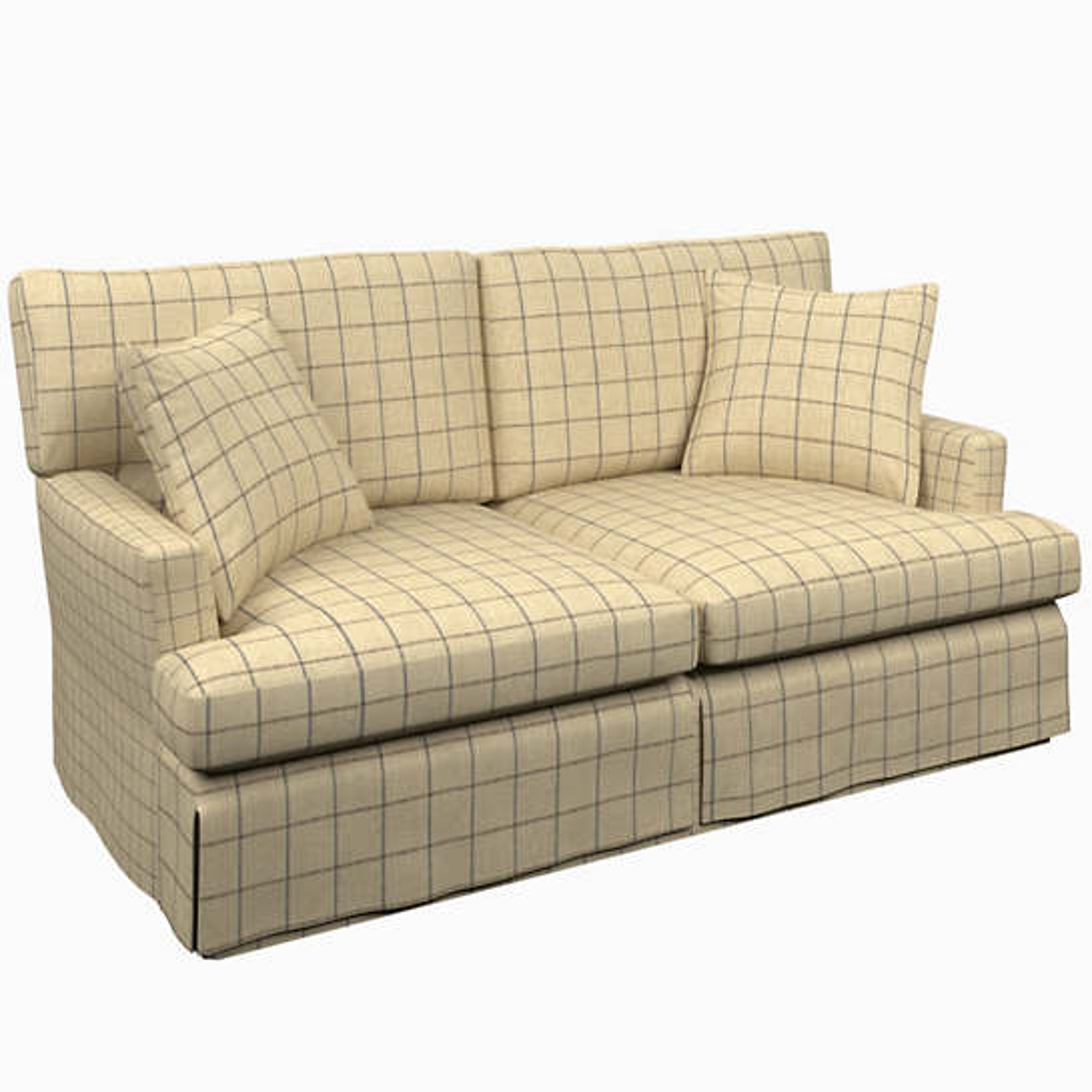 Chatham Tattersall Navy/Brown Saybrook 2 Seater Slipcovered Sofa
