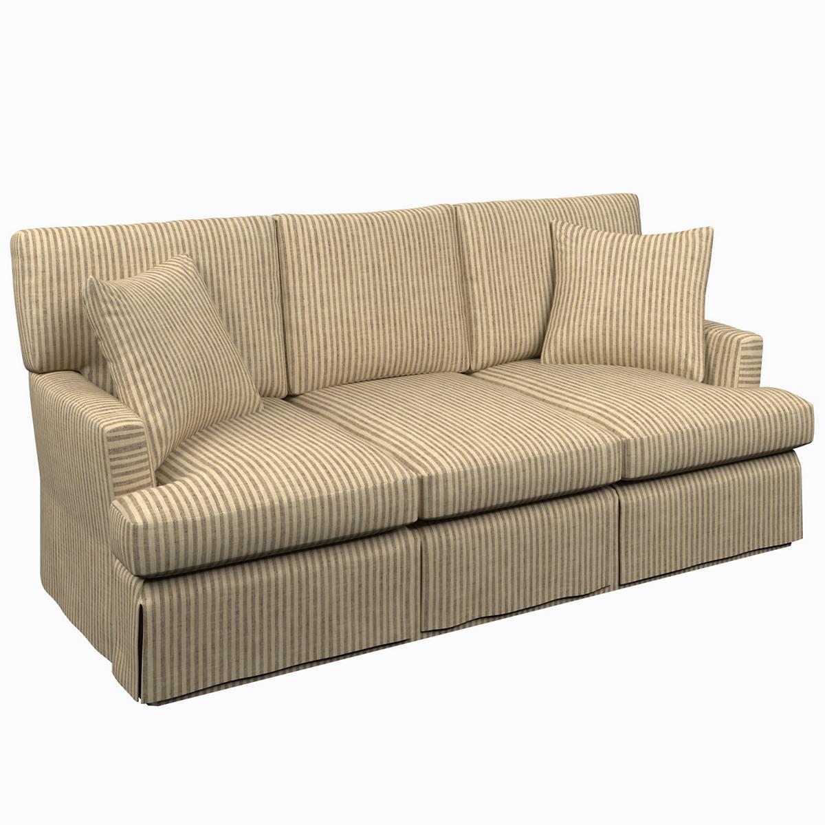 Adams Ticking Brown Saybrook 3 Seater Slipcovered Sofa