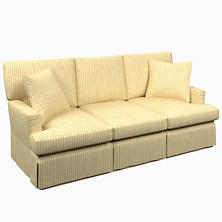 Adams Ticking Gold Saybrook 3 Seater Slipcovered Sofa