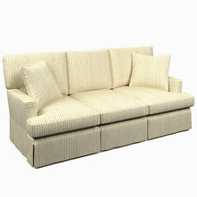 Adams Ticking Grey Saybrook 3 Seater Slipcovered Sofa