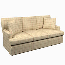Chatham Tattersall Brick/Brown Saybrook 3 Seater Slipcovered Sofa