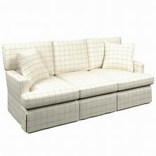 Chatham Tattersall Light Blue/Natural Saybrook 3 Seater Slipcovered Sofa