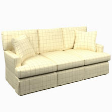 Chatham Tattersall Natural/Grey Saybrook 3 Seater Slipcovered Sofa
