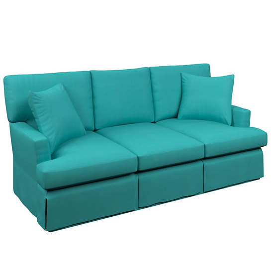 Estate Linen Turquoise Saybrook 3 Seater Slipcovered Sofa